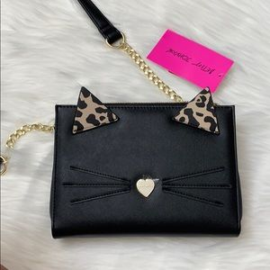 Betsey Johnson black cat face crossbody